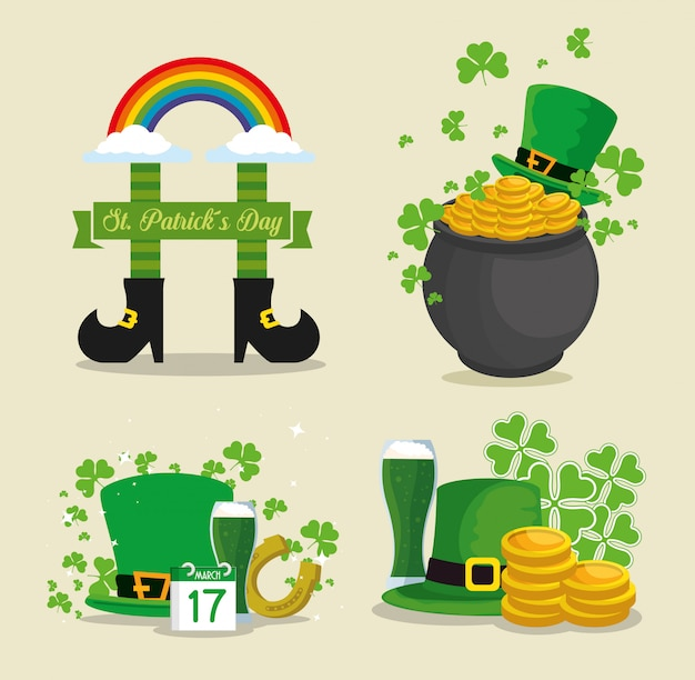 Set st patrick day traditional elements