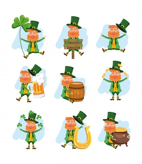Set st patrick man with beer and clovers