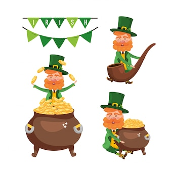 Set st patrick man with cauldron and coins