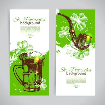 Set of st. patrick's day banners with hand drawn sketch illustrations