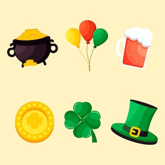 Set of st. patrick's day flat design elements