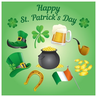 Set of st. patrick's day objects in cartoon style