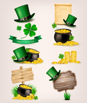 Set of st. patrick's day related icons.