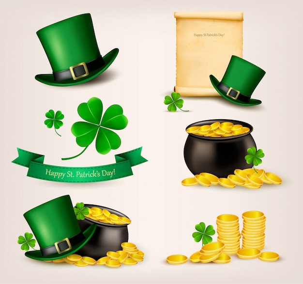 Set of st. patrick's day related icons. .