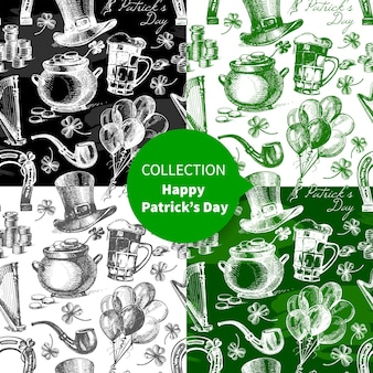 Set of st. patrick's day seamless patterns with hand drawn sketch illustrations
