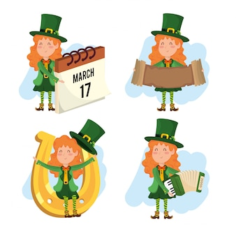 Set st patrick woman with accordion and horseshoe