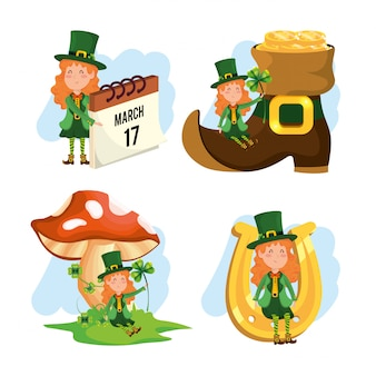 Set st patrick woman with boot and fungus