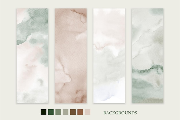 Set of stain watercolor hand-painted earth-tone backgrounds for banner card or flyer template.