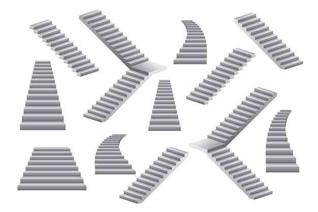 Set of stairs illustration isolated on white