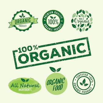 Set of stamp lettering for organic and natural product