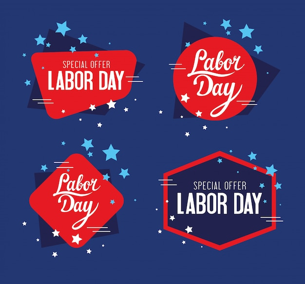 Set of stamps, celebration and sale promotion of happy labor day