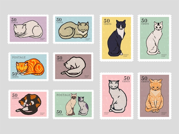 Set of stamps with cats