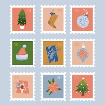 Set of stamps with christmas holiday elements flat vector illustrations