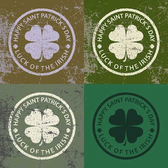 Set of stamps with clover for st. patricks day celebration. vector illustration