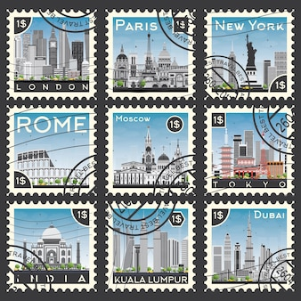 Set of stamps with different city and landmarks. vector illustration.