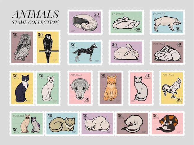 Set of stamps with various animals