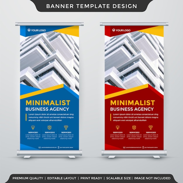 Set of stand banner template design premium style