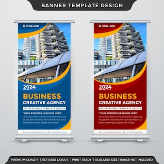 Set of stand banner template design with abstract style and modern layout