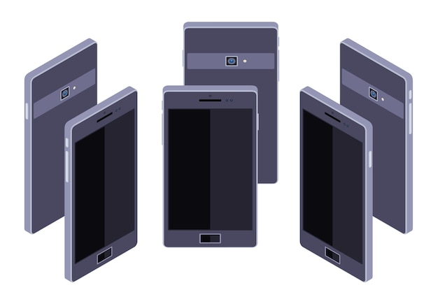 Set of the standing isometric generic black smartphones. the objects are isolated against the white background and shown from different sides