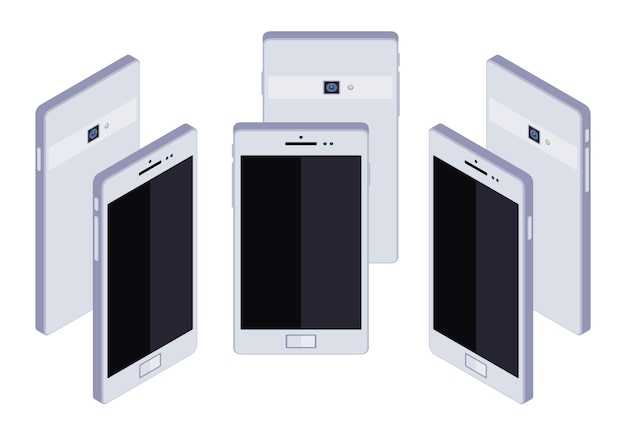 Set of the standing isometric generic white smartphones. the objects are isolated against the white background and shown from different sides