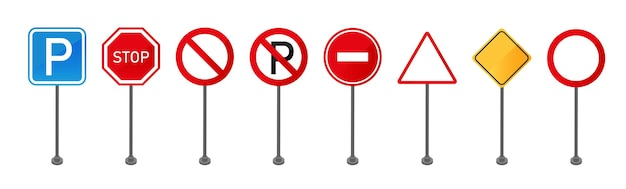 Set of standing road signs isolated on white background. traffic signboard.