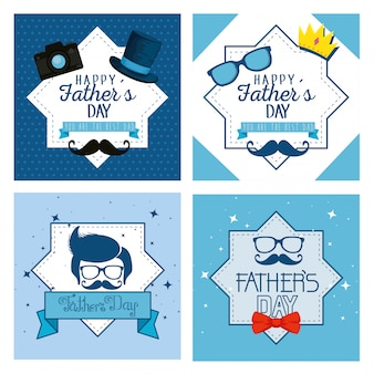 Set star label with fathers day celebration