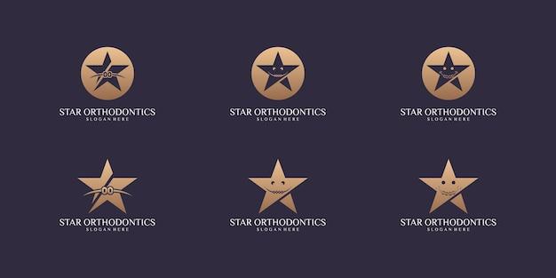 Набор звездных логотипов набор шаблонов