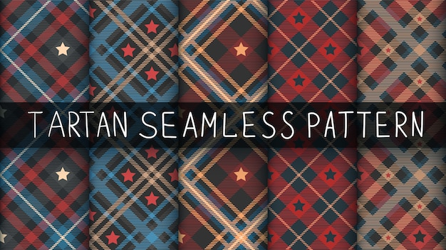 Set star tartan seamless pattern