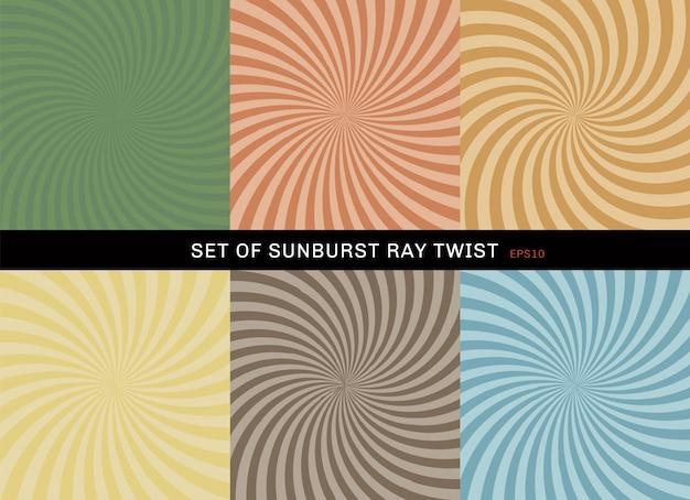Set of starburst twist background retro style
