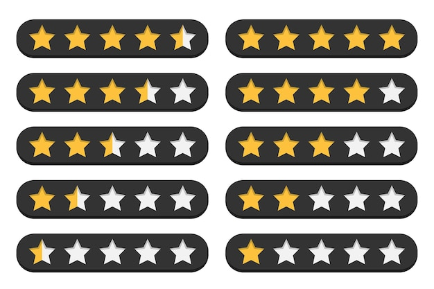 Set of stars customer rating review in a flat design