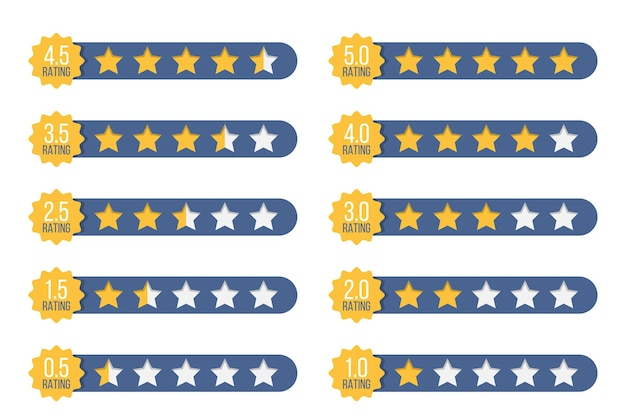 Set of stars rating badges in a flat design