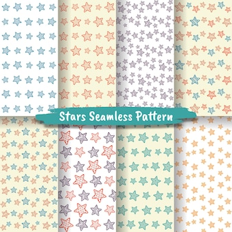 Set of stars seamless pattern, stars background collection