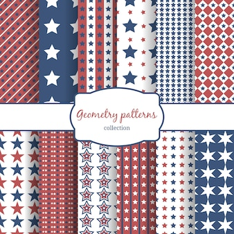 Set of stars and stripes pattern seamless patterns. row, line and diagonal and geometry.