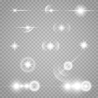Set of stars on a transparent white and gray background on a chessboard.