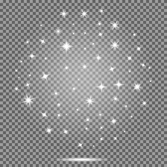 Set of stars, white flares effect on transparent