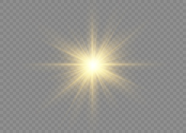 Set of stars with brilliance. a flash of sun with rays and spotlight. yellow glowing lights and stars. special effect isolated on transparent background.   illustration,  .
