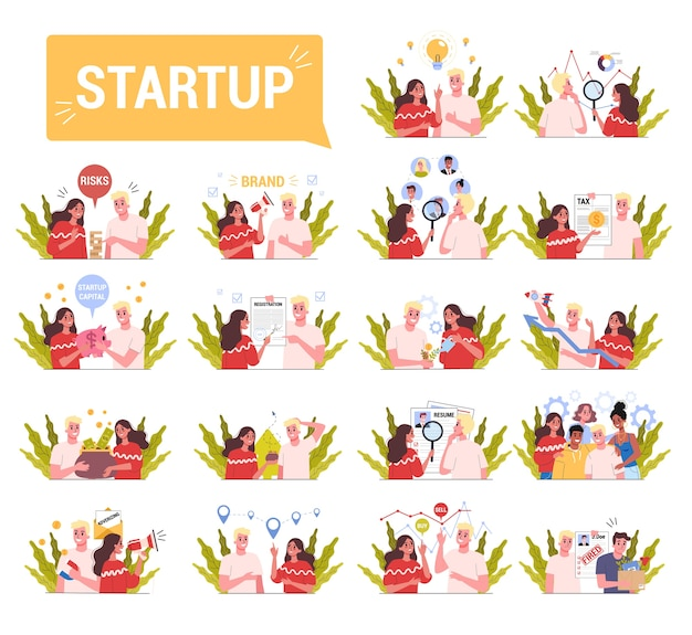 Set of start up process with people working together. generating idea, researching, hiring, advertising. business strategy building.  illustration