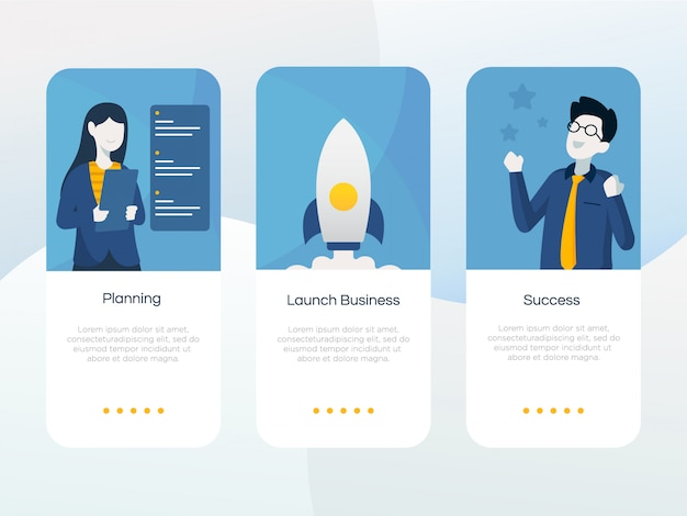 Set of startup onboarding screen