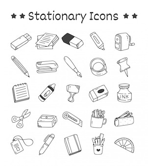 Set of stationary icons in doodle style