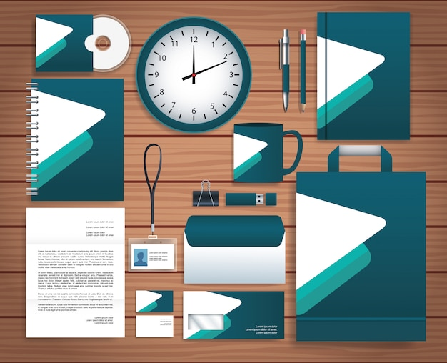 Set stationary templates in wooden background