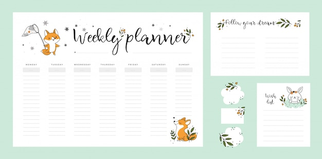 Set of stationery digital prints. wish list template, weekly planner page with cute baby animals