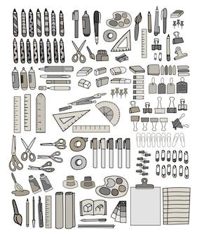 Set di stile doodle di cancelleria