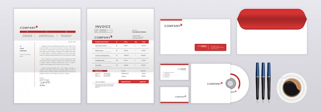 Set of stationery identity template design