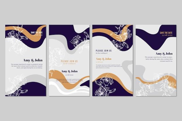 Set of stationery wedding invitations
