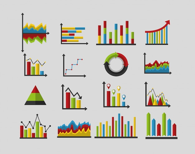 Set of statistics analysis data Free Vector