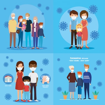 Set of stay at home campaign with families