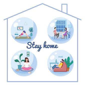 Set stay home quarantine consept banners self isolation. young couple and womens and men sitting at home drink tea coffee, practicing yoga, meditation, listen misic