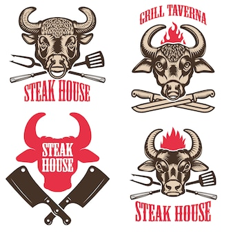 Set of steak house emblems. labels with bull heads. elements for logo, label, emblem, sign.  illustration