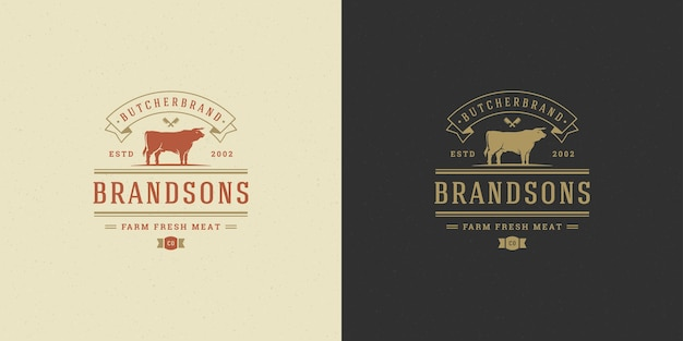 Set of steak house or restaurant logos