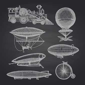Set of steampunk hand drawn dirigibles, bicycles and cars on black chalkboard illustration
